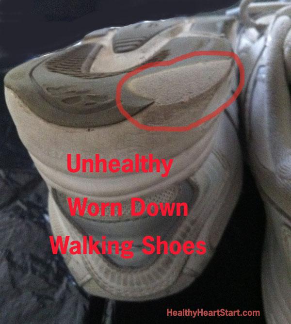 Unhealthy Worn Down Walking Shoes